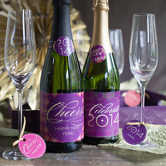 champagne labels and personalized glass tags new years crafts
