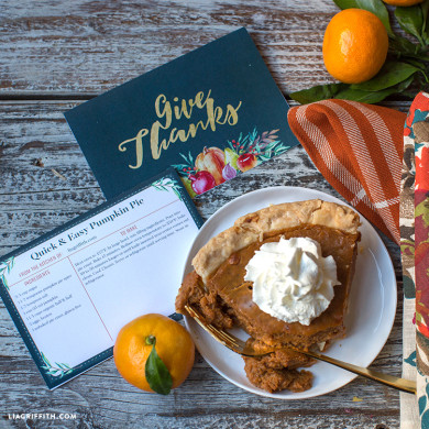 Thanksgiving menu card in navy lia griffith recipe cards for thanksgiving forumfinder Choice Image