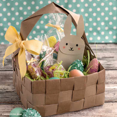 Upcycled grocery bag easter basket lia griffith upcycled large diy easter basket negle Image collections