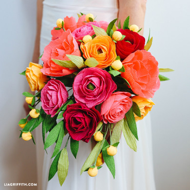 Patterns and tutorials to make paper wedding flowers at home crepe paper neon wedding bouquet paper wedding flowers mightylinksfo