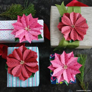 Diy paper poinsettia metallic paper poinsettia gift topper mightylinksfo