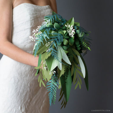 Patterns and tutorials to make paper wedding flowers at home paper greenery wedding bouquet video junglespirit Choice Image