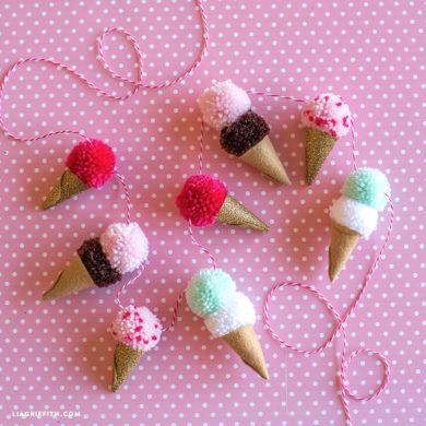 Pom pom ice cream cone template lia griffith ice cream pom pom garland maxwellsz