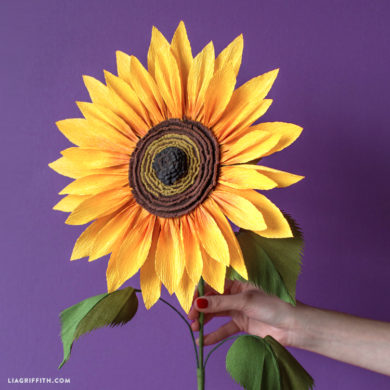 Diy felt flowers for you to make today patterns and tutorials included jumbo crepe paper sunflower crepe paper flowers mightylinksfo