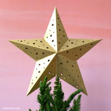 glitter paper star tree topper pdf template lia griffith