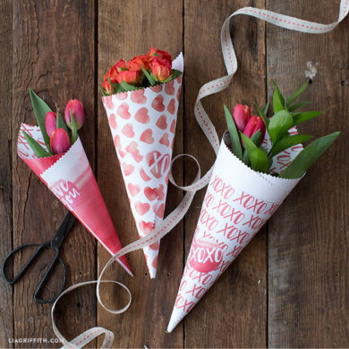 Valentine S Day Paper Flower Cone Pdf Lia Griffith