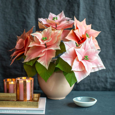 101 stunning crepe paper flowers with easy diy tutorials double sided pink crepe paper poinsettias mightylinksfo