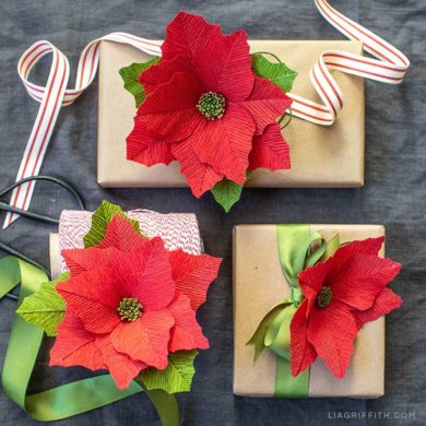 101 stunning crepe paper flowers with easy diy tutorials video tutorial heavy crepe poinsettias starter pattern mightylinksfo